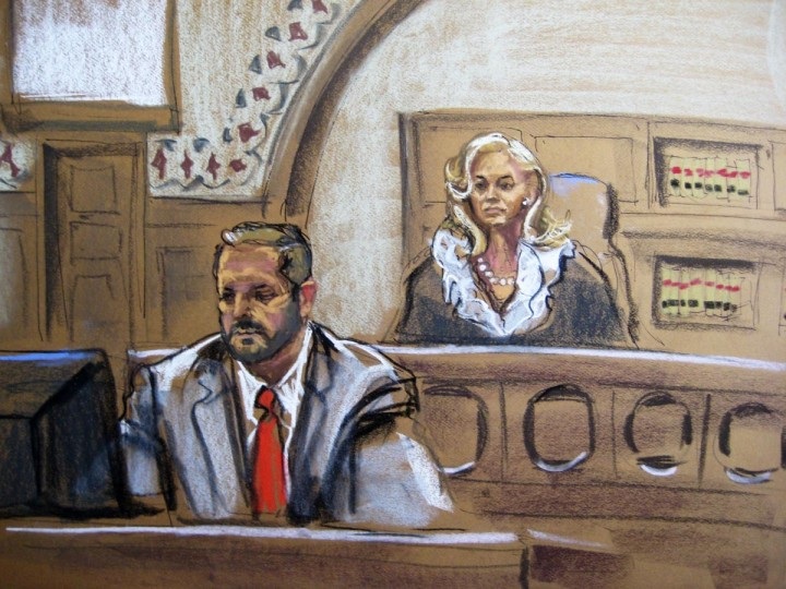 Judge Marianne Bowler (R) looks on along with Courtroom Deputy Brendan Garvin as Dzhokhar Tsarnaev appears in court in Boston, Massachusetts in this July 10, 2013 court sketch. Accused Boston Marathon bomber Dzhokhar Tsarnaev made his first court appearance after being charged with killing three marathon spectators on April 15, and later shooting dead a university police officer. (Jane Rosenberg/Reuters)