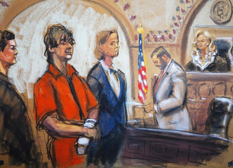 Defense attorneys Miriam Conrad (L) and Judy Clarke (centre) flank Dzhokhar Tsarnaev as Judge Marianne Bowler (R) looks on in court in Boston, Massachusetts in this July 10, 2013 court sketch. Accused Boston Marathon bomber Dzhokhar Tsarnaev made his first court appearance after being charged with killing three marathon spectators on April 15, and later shooting dead a university police officer. (Jane Rosenberg/Reuters)