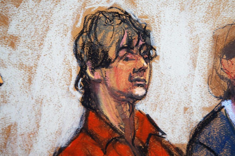 Dzhokhar Tsarnaev appears in court in Boston, Massachusetts in this July 10, 2013 court sketch. Accused Boston Marathon bomber Dzhokhar Tsarnaev made his first court appearance after being charged with killing three marathon spectators on April 15, and later shooting dead a university police officer. (Jane Rosenberg/Reuters)