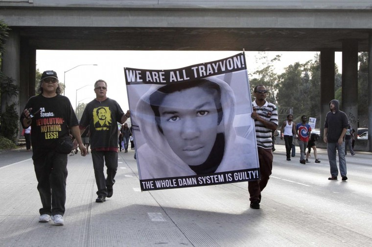 Demonstrators block traffic on the Interstate 10 freeway as they protest the acquittal of George Zimmerman in the Trayvon Martin trial, in Los Angeles, California July 14, 2013. (Jonathan Alcorn/Reuters)