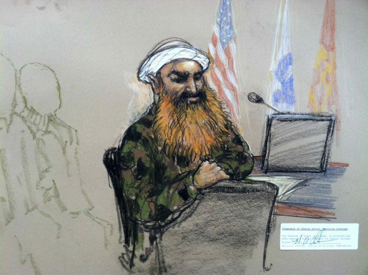 The alleged mastermind of the hijacked plane attacks on the United States, Khalid Sheikh Mohammad, is seen during a break in court procedure in this Pentagon-approved sketch at Guantanamo Bay U.S. Naval Base, Cuba June 17, 2013. Dozens of issues are on the docket for a week-long pretrial hearing in the death penalty case against the alleged mastermind of the hijacked plane attacks on the United States, Khalid Sheikh Mohammed, and four co-defendants accused of funding and training the hijackers. (Janet Hamlin/Reuters)
