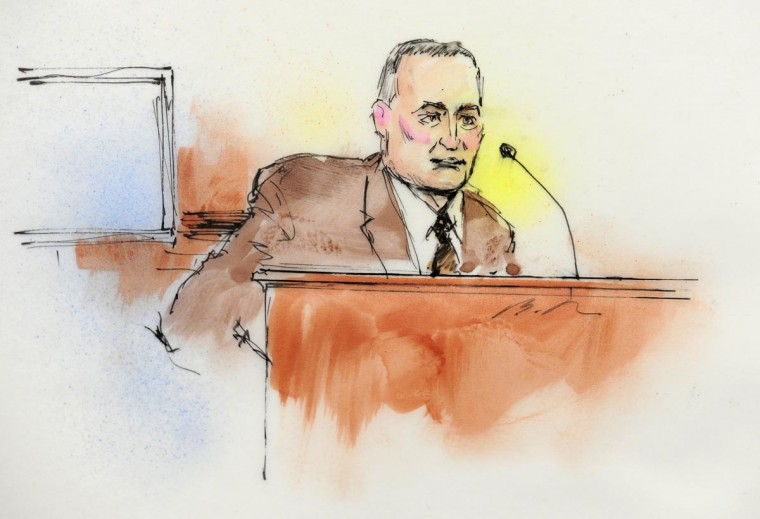 Aurora Police Detective Matthew Ingui is pictured in a courtroom sketch testifying in Centennial, Colorado January 7, 2013 at a court appearance of James Holmes, the accused shooter in the July 20, 2012 theater shootings. Attorneys are meeting Monday for a preliminary hearing at which prosecutors will lay out their evidence so that Arapahoe County District Judge William Sylvester may decide if there is a basis for trying Holmes. (Bill Robles/Reuters)