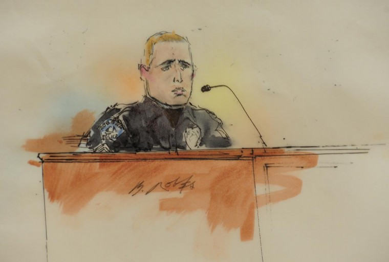 "A courtroom sketch shows Aurora Police officer Justin Grizzle giving testimony at a preliminary hearing in the case against James Holmes, the accused suspect in the July 20, 2012 theater shootings in Centennial, Colorado January 7, 2013. Holmes, a former graduate student charged with shooting a dozen people to death last July at a screening of a ""Batman"" film in Colorado returned to court on Monday as prosecutors set out to convince a judge they have enough evidence to put him on trial. (Bill Robles/Reuters)"