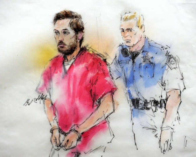 James Holmes (L) is led into court for an appearance in Centennial, Colorado in a courtroom sketch from January 7, 2013. Defense lawyers declined to present any evidence or call any witnesses on Wednesday in the preliminary hearing for Holmes, who is charged with shooting 12 people to death and wounding 58 others in a Colorado movie theater July 20, 2012. (Bill Robles/Reuters)
