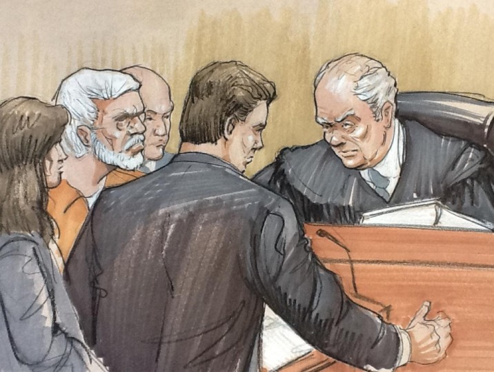 A courtroom artist's sketch shows (L to R) Tahawwur Rana in a white beard, looking on with his lawyer Patrick Blegen, prosecutor Daniel Collins and Judge Harry Leinenweber during a sentencing hearing in federal court in Chicago, Illinois January 17, 2013. Rana, a Canadian national found guilty in 2011 of participating in a terror conspiracy against a Danish newspaper and providing material to support a terrorist organization. (Tom Gianni/Reuters)