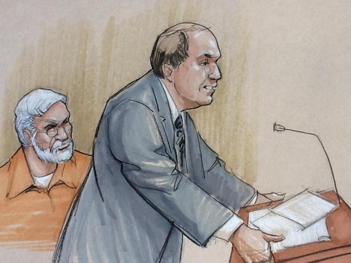 A courtroom artist's sketch shows Tahawwur Rana (L) looking on with his lawyer Patrick Blegen during a sentencing hearing in federal court in Chicago, Illinois January 17, 2013. Rana, a Canadian national found guilty in 2011 of participating in a terror conspiracy against a Danish newspaper and providing material to support a terrorist organization. (Tom Gianni/Reuters)