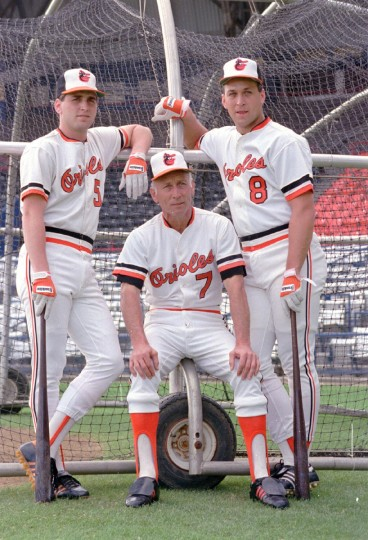 The Ripken family -- from left, Billy, Cal Sr. and Cal Jr. -- posed for this picture at spring training in 1987. (Gene Sweeney, Jr./Baltimore Sun)