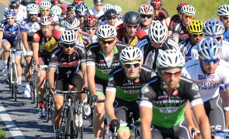 CAT 1 riders roll our for a neutral start at the beginning of the Road Warrior 50 road race. (Jerry Jackson/Baltimore Sun)