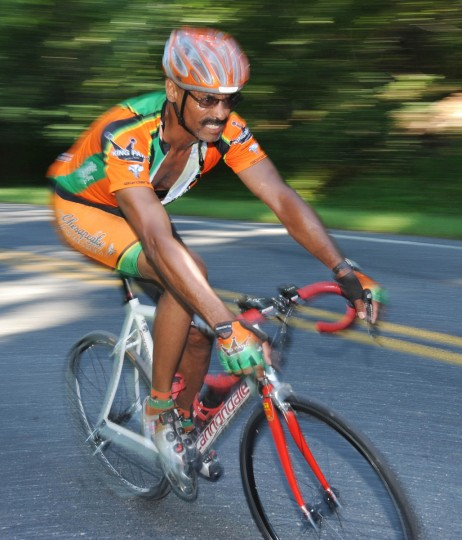 Panning with a slow shutter speed and a strobe emphasizes movement in this shot from the Road Warrior 50 bicycle race. (Jerry Jackson/Baltimore Sun)