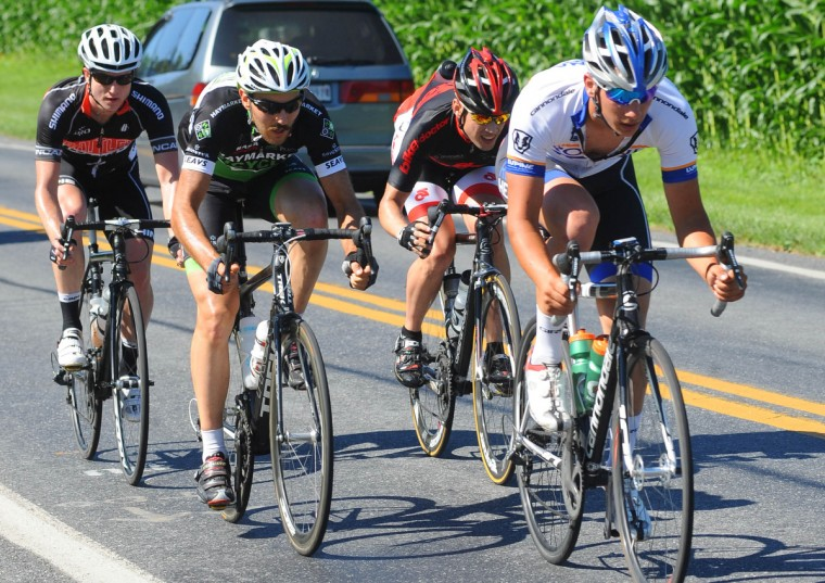 A four-man breakaway works together to gain time on the main field in the CAT 1 division of the Road Warrior 50 road race. (Jerry Jackson/Baltimore Sun)