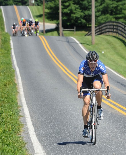 A solo rider tries to stay off the front on Ae Mullinix Road during the Road Warrior 50 road race. (Jerry Jackson/Baltimore Sun)