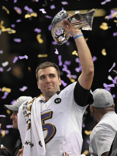 Ravens quarterback Joe Flacco holds aloft the Lombardi Trophy after the Ravens defeated the San Francisco 49ers in Super Bowl XLVII in New Orleans on Feb. 3, 2013. (Gene Sweeney Jr./Baltimore Sun)