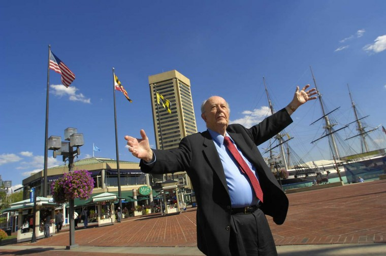 William Donald Schaefer at the Inner Harbor in 2007. (Jed Kirschbaum/Baltimore Sun)