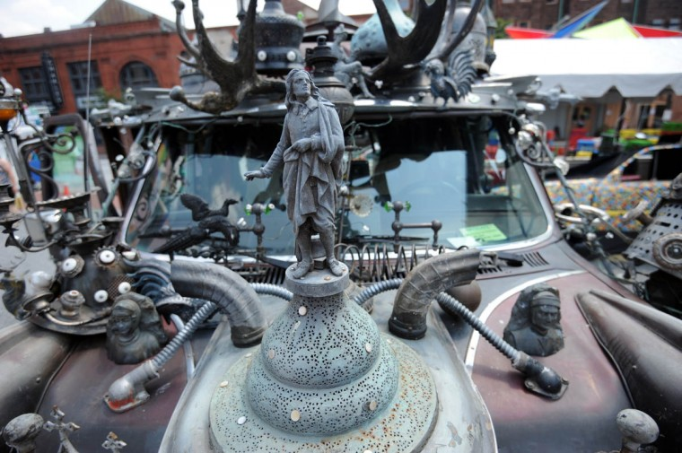 English poet John Milton is a hood ornament on Clarke Bedford's art car, Vanadu. Bedford lives in Hyattsville. (Kim Hairston/The Baltimore Sun)