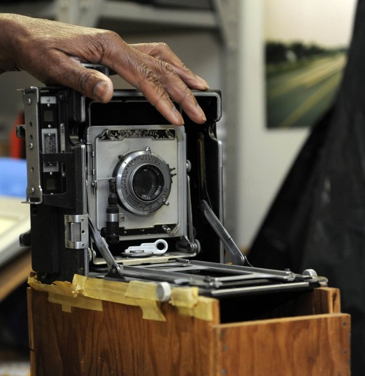 This is a 1940s era Speed Graphic camera that still works. It belongs to and is used by Timothy G. Hyman, staff photographer for the Maryland State Highway Administration. (Barbara Haddock Taylor/Baltimore Sun)