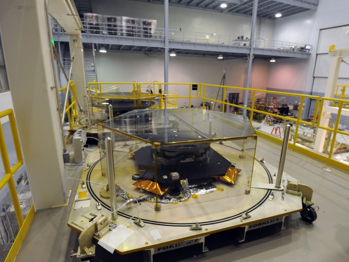 Engineering development test units for the mirror segments of the Webb telescope sit in the clean room. (Algerina Perna/Baltimore Sun)