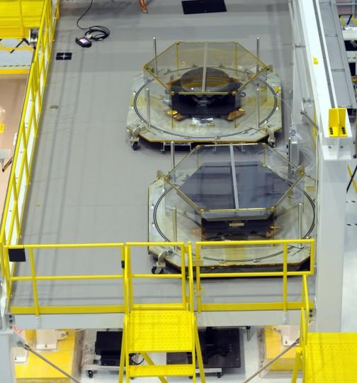Engineering development test units for the telescope's mirror segments sit in the Clean Room of NASA's Goddard Space Flight Center. (Algerina Perna/Baltimore Sun)