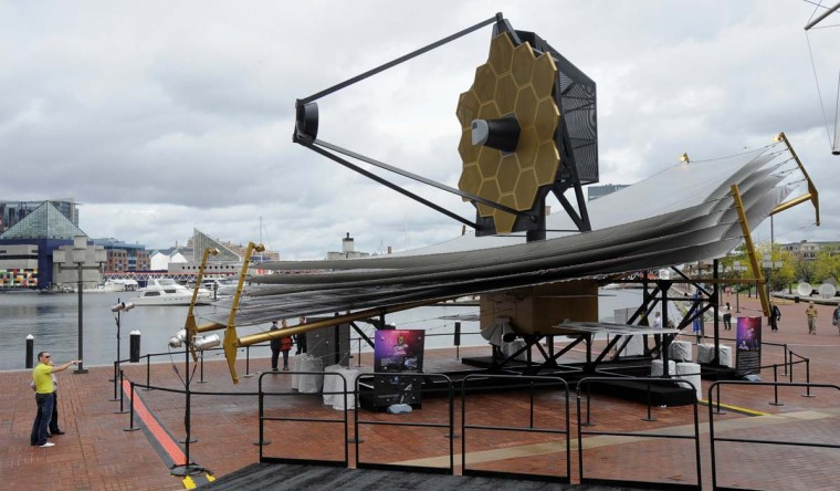 NASA's James Webb Space Telescope full size replica was on display outside the Science Center at the Inner Harbor in 2011. ( Lloyd Fox, Baltimore Sun)