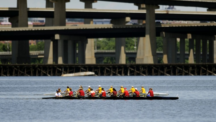 The Row Like A Mother crew races a women's novice 8 from Capital Rowing Club, based out of Washington, D.C., on Saturday, June 29, 2013. (Jon Sham/BSMG)