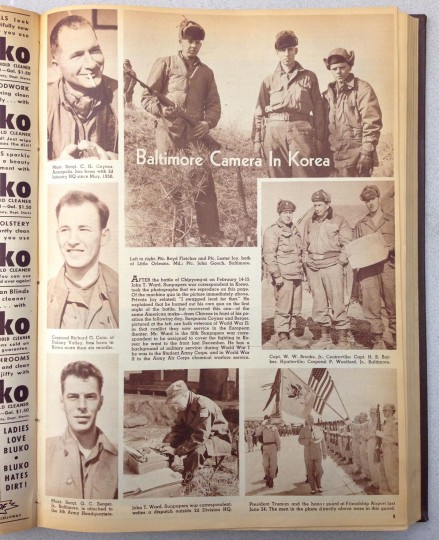 Photo spread from the Korean War inside The Sunday Sun Magazine April 1, 1951 issue.