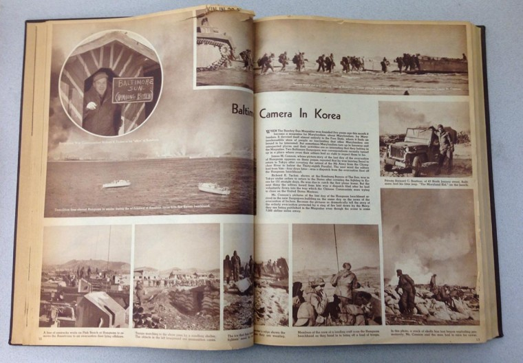 Photo spread from the Korean War inside The Sunday Sun Magazine January 28, 1951 issue.