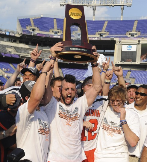 Virginia's Bray Malphrus, center, and Steele Stanwick, right, were among the Cavaliers who celebrated after winning the NCAA men's lacrosse championship on May 30, 2011 at M&T Bank Stadium. (Gene Sweeney, Jr./Baltimore Sun)