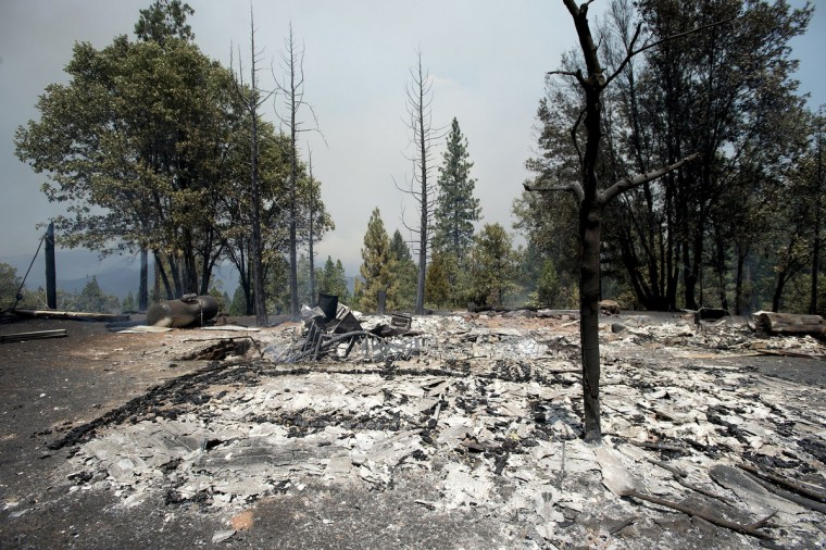 The Rim Fire has claimed seven structures including this outbuilding on Packard Canyon Road in the Stanislaus National Forest in California, Tuesday August 20, 2013. (Andy Alfaro/Modesto Bee/MCT)