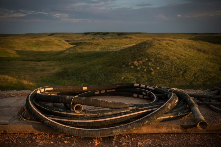 Drilling equipment sits in preparation on a drill site on July 28, 2013 outside Watford City, North Dakota. (Andrew Burton/Getty Images)