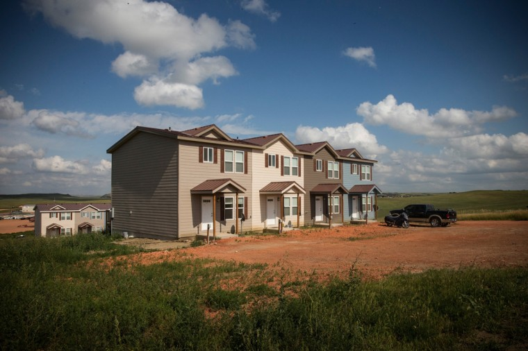 New townhouses are seen next to a highway on July 29, 2013 in Watford City, North Dakota. (Andrew Burton/Getty Images)