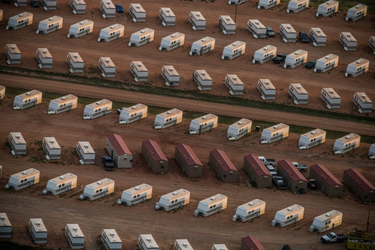 A trailer park occupied mostly by oil workers is seen in an aerial view in the early morning hours of July 30, 2013 near Watford City, North Dakota. (Andrew Burton/Getty Images)