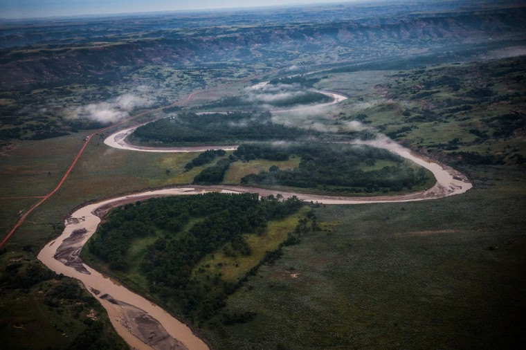 The Missouri River and the Badlands region is seen in an aerial view in the early morning hours of July 30, 2013 near Watford City, North Dakota. (Andrew Burton/Getty Images)