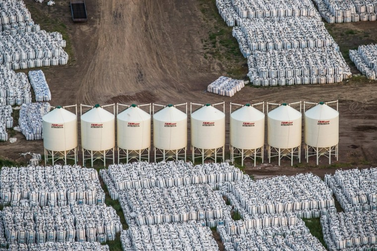 Oil industry equipment is seen in an aerial view in the early morning hours of July 30, 2013 near Watford City, North Dakota. (Andrew Burton/Getty Images)