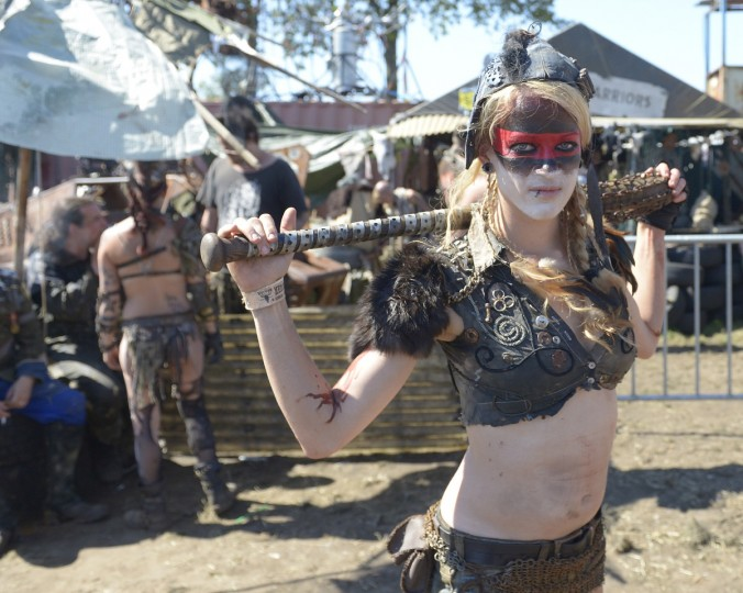 Visitors from a group of end time role gamers enjoy the Wacken Open Air heavy metal music fest on August 2, 2013 in Wacken, Germany. (Patrick Lux/Getty Images)