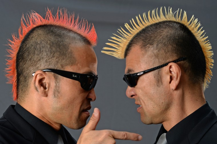 Ketch, Hiro- Pon of Gamarjobat, pose stating if they were not at the Edinburgh Fringe Festival they would be touring Japan on August 6, 2013 in Edinburgh, Scotland. (Jeff J Mitchell/Getty Images)