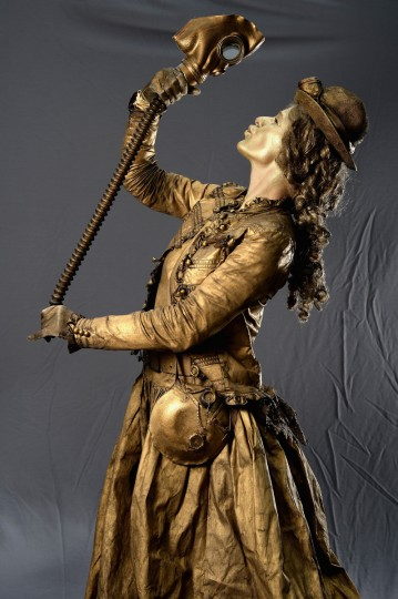 Isabela Walkowia, Steam Punk Lady, poses stating if she was not at the Edinburgh Fringe Festival she would be doing the same somewhere else on August 6, 2013 in Edinburgh, Scotland. (Jeff J Mitchell/Getty Images)