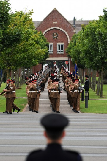 A graduation parade for Junior Soldiers takes place in Harrogate, England. The Army Foundation College in Harrogate opened in 1998 and provides training for soldiers destined for all the Army's career paths and provides training for 1344 junior soldiers.(Ian Forsyth/Getty Images)