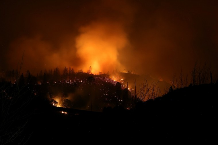 The Rim Fire burns out of control on August 21, 2013 in Groveland, California. The Rim Fire continues to burn out of control and threatens 2,500 homes outside of Yosemite National Park. Over 400 firefighters are battling the blaze that is only 5 percent contained. (Justin Sullivan/Getty Images)