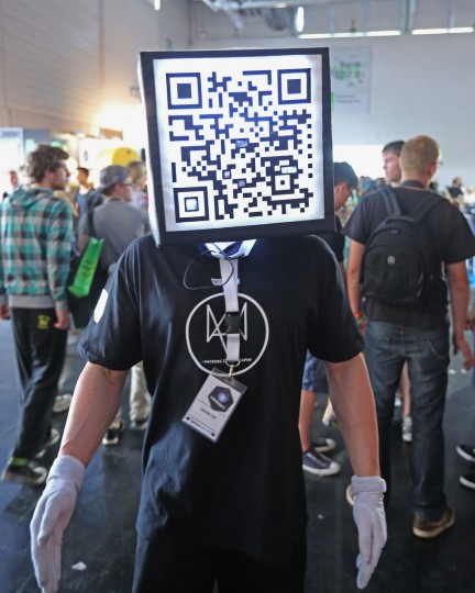 A promoter wears a QR code box at the Gamescom 2013 gaming trade air in Cologne, Germany. Gamescom is the world's largest trade fair for digital gaming. (Juergen Schwarz/Getty Images)