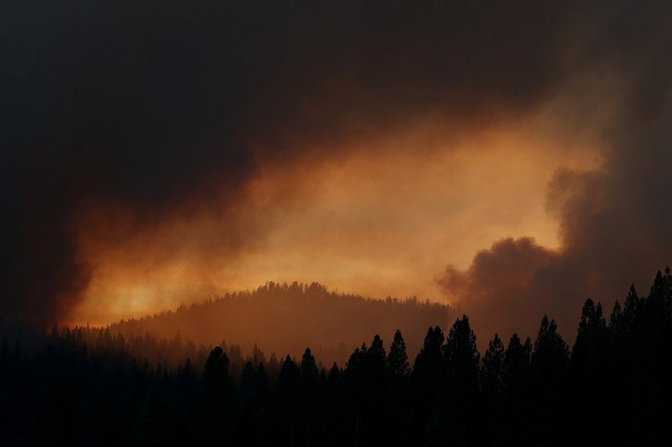 Smoke from the Rim Fire fills the sky on August 24, 2013 near Groveland, California. (Justin Sullivan/Getty Images)