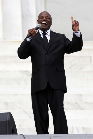 "Seventh-day Adventist minister and vocal artist Rev. Wintley Phipps, Sr., sings during the Let Freedom Ring ceremony at the Lincoln Memorial August 28, 2013 in Washington, DC. The event was to commemorate the 50th anniversary of Dr. Martin Luther King Jr.'s ""I Have a Dream"" speech and the March on Washington for Jobs and Freedom. (Alex Wong/Getty Images)"