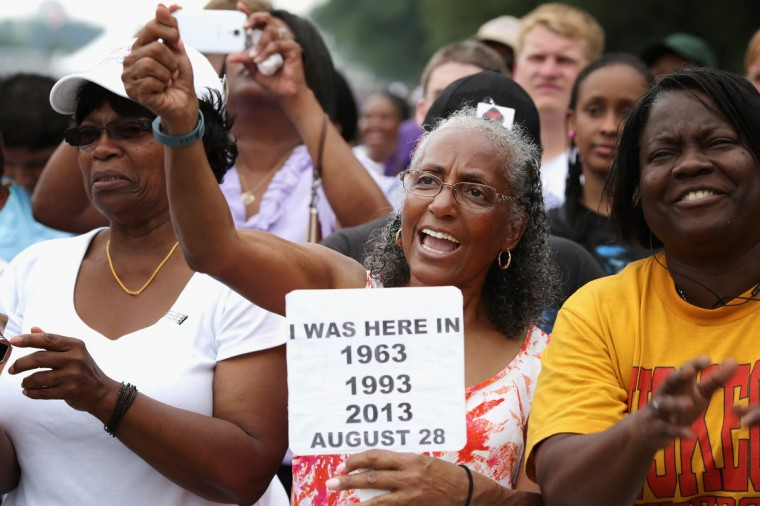 Betty Waller Gray (C) of Richmond, Virginia, cheers during the 'Let Freedom Ring Commemoration and Call to Action' honoring the 50th anniversary of the historic March on Washington for Jobs and Freedom on the National Mall August 28, 2013 in Washington, DC. (Chip Somodevilla/Getty Images)