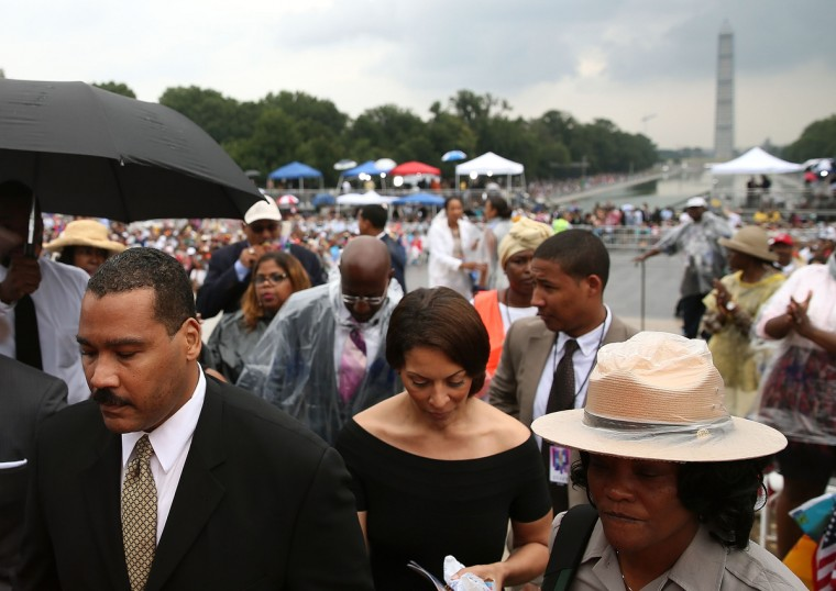 """Dexter Scott King (L), son of Martin Luther King, Jr., attends the ceremony to commemorate the 50th anniversary of the March on Washington for Jobs and Freedom August 28, 2013 in Washington, DC. It was 50 years ago today that Martin Luther King, Jr. delivered his """"I Have A Dream Speech"""" on the steps of the Lincoln Memorial. (Mark Wilson/Getty Images)"""