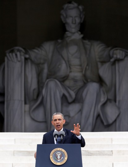 """U.S. President Barack Obama speaks during the Let Freedom Ring ceremony on the steps of the Lincoln Memorial August 28, 2013 in Washington, DC. The event was to commemorate the 50th anniversary of Dr. Martin Luther King Jr.'s """"I Have a Dream"""" speech and the March on Washington for Jobs and Freedom. (Alex Wong/Getty Images)"""
