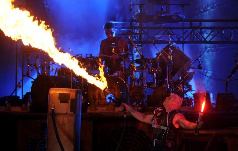 Til Lindemann of German rock bank Rammstein performs on stage during heavy metal Wacken Open Air (WOA) Festival 2013 in Wacken, northern Germany on August 1, 2013. (Carsten Rehder/Getty Images)