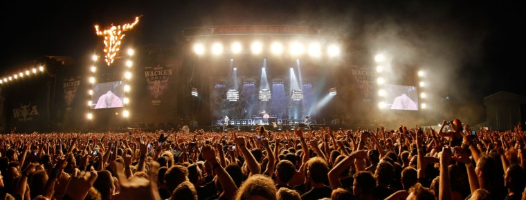 German rock bank Rammstein perform on stage during heavy metal Wacken Open Air (WOA) Festival 2013 in Wacken, northern Germany on August 1, 2013. (Axel Heimken/Getty Images)