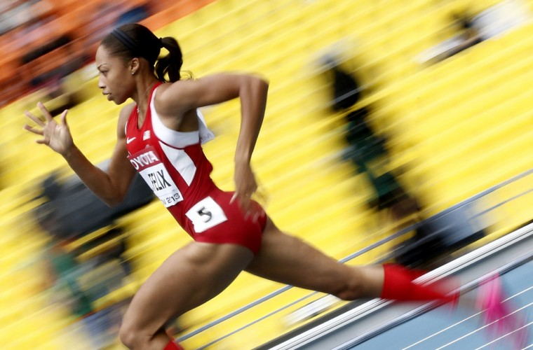 US Allyson Felix competes during the women's 200 metres event at the 2013 IAAF World Championships at the Luzhniki stadium in Moscow. (Franck Fife/Getty images)