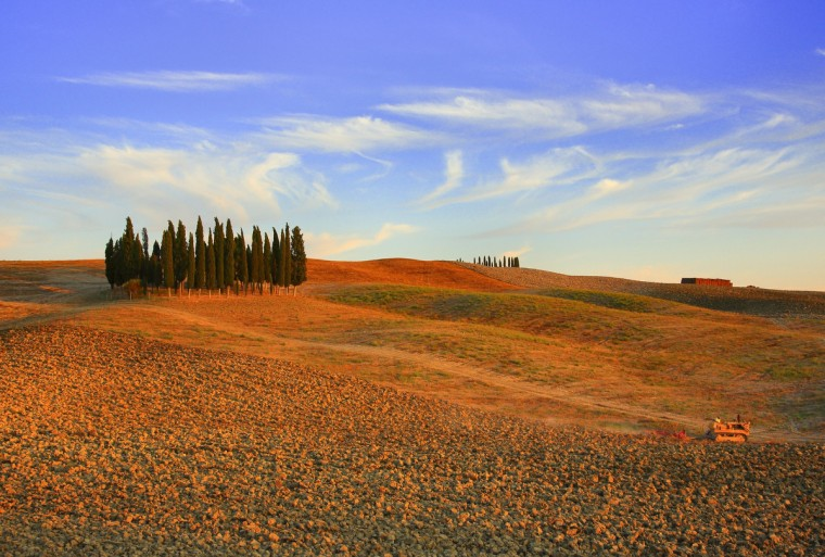 A view of the Crete Senesi landscapes taken on August 14, 2013 at the sunset in Siena countryside. (Fabio Muzzi/Getty images)