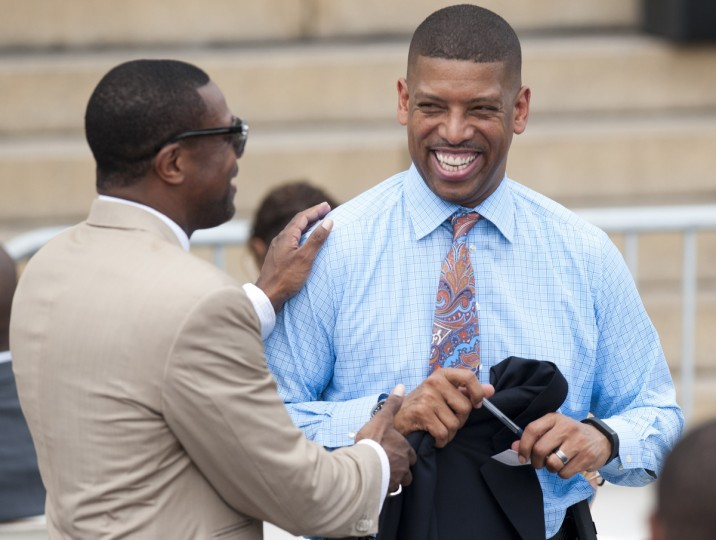 "Comedian and actor Chris Tucker (L) talks with Sacramento, California, Mayor and former NBA player Kevin Johnson, during the Let Freedom Ring Commemoration and Call to Action to commemorate the 50th anniversary of the March on Washington for Jobs and Freedom at the Lincoln Memorial in Washington, DC on August 28, 2013. Thousands will gather on the mall on the anniversary of the march and Dr. Martin Luther King, Jr.'s famous ""I Have a Dream"" speech. (Saul Loeb/Getty Images)"