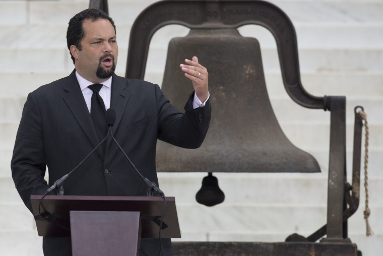 "Benjamin Todd Jealous, president and chief executive of the NAACP, speaks during the Let Freedom Ring Commemoration and Call to Action to commemorate the 50th anniversary of the March on Washington for Jobs and Freedom at the Lincoln Memorial in Washington, DC on August 28, 2013. Thousands will gather on the mall on the anniversary of the march and Dr. Martin Luther King, Jr.'s famous ""I Have a Dream"" speech.(Saul Loeb/Getty Images)"