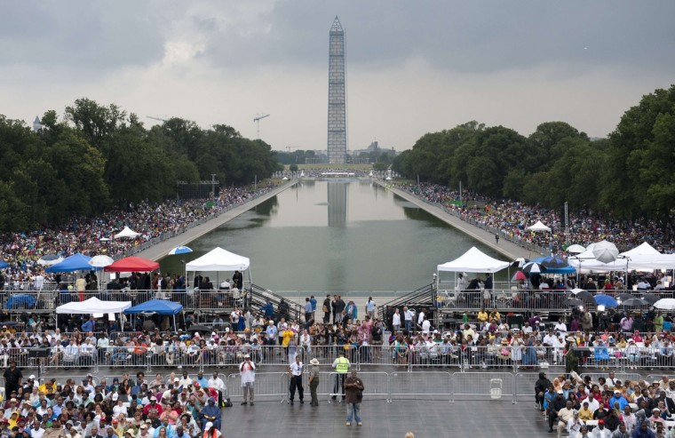 """Thousands attend the Let Freedom Ring Commemoration and Call to Action to commemorate the 50th anniversary of the March on Washington for Jobs and Freedom at the Lincoln Memorial in Washington, DC on August 28, 2013. Thousands will gather on the mall on the anniversary of the march and Dr. Martin Luther King, Jr.'s famous """"I Have a Dream"""" speech. (Saul Loeb/Getty Images)"""